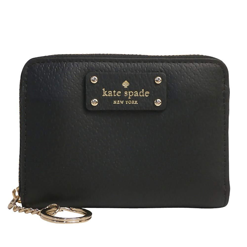Kate Spade New York Kate Spade Grove Street Dani Leather Zip Around Wallet Key Chain Ring Black, Small