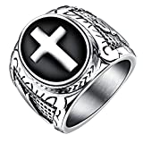 Onefeart Stainless Steel Ring For Men Boy Retro Punk Style Cross Shape Silver US Size 11 Exaggerated Ring