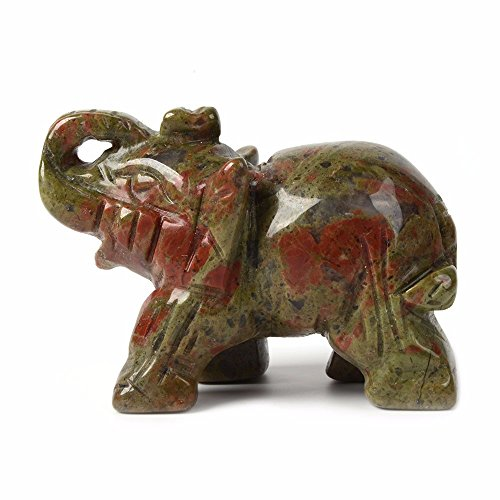 Carved Natural Unakite Gemstone Elephant Healing Guardian Statue Figurine Crafts 2 (Unakite Green)