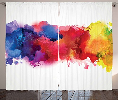 Ambesonne Abstract Curtains, Vibrant Stains of Watercolor Paint Splatters Brushstrokes Dripping Liquid Art, Living Room Bedroom Window Drapes 2 Panel Set, 108 W X 84 L Inches, Red Yellow Blue