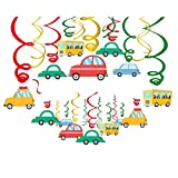 CC HOME Transportation Party Decoration,Traffic Jam Birthday Party Supplies , Cars Vehicle Buses Transportation Party Theme Hanging Swirl Decorations Foil Transportation Ceiling Hanging Streamers for Home,Classroom , Boy, Girl ,Kids ,Graduation ,Holiday ,Baby Shower , Birthday Party Decoration Supplies 30 Pcs