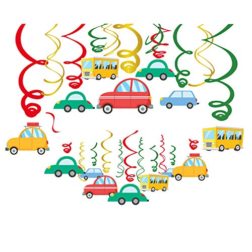 CC HOME Transportation Party Decoration,Traffic Jam Birthday Party Supplies , Cars Vehicle Buses Transportation Party Theme Hanging Swirl Decorations Foil Transportation Ceiling Hanging Streamers for Home,Classroom , Boy, Girl ,Kids -