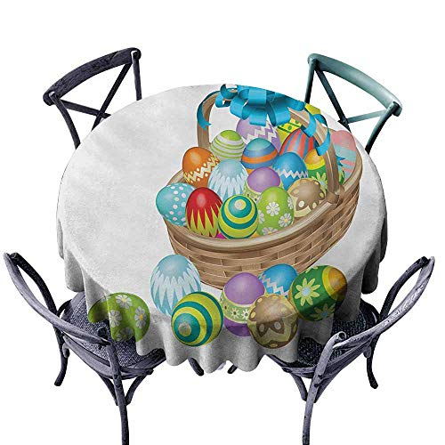 Basket Blue Chambray - VIVIDX Spillproof Tablecloth,Easter,Basket of Colorful Ornamental Eggs with a Blue Ribbon Spring Season Easter Holiday,for Banquet Decoration Dining Table Cover,55 INCH,Multicolor
