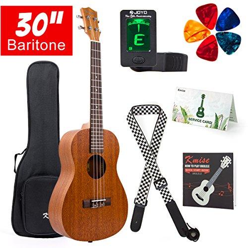 Baritone Ukulele 30 Inch Ukelele Uke 4 String Guitar With Ukele Picks Strap Tuner G-C-E-A String (Mahogany Top Back Side)