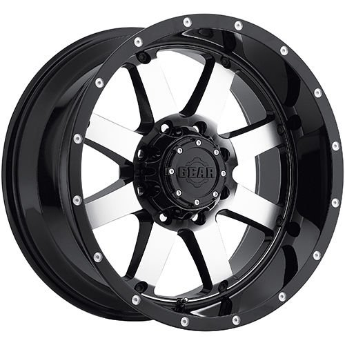 Gear Alloy 726M Big Block Black with Machined Face and Spot Milled Lip Accents Wheel with Machined Finish (17x9/6x135, -12mm - Face Rims Big