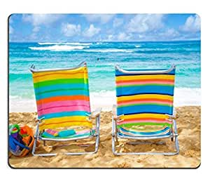 Mouse Pad Natural Rubber Mousepad IMAGE ID: 20609880 Two colorful beach chairs under by the ocean with sunscreen and kid s beach toys with couple in the ocean on background