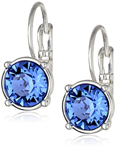 "Nine West""Party Time"" Silver-Tone and Blue Swarovski Drop Earrings"