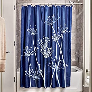 iDesign Thistle Fabric Shower Curtain - 72 x 72-Inch, Navy/ Slate Blue