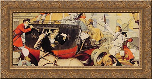 winchester-stagecoach-24x15-gold-ornate-wood-framed-canvas-art-by-rockwell-norman