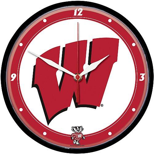 Badgers Clock Wisconsin Wall - NCAA 2926871 University of Wisconsin Round Wall Clock, 12.75