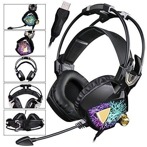 SADES neuestes Modell SA 913 Leichtes Stereo-PC Gaming Headset USB Surround Sound über Ohr-Kopfhörer mit Mikrophon Vibration Volume Controller Multi-Color LED-Licht für Gamers (schwarz)