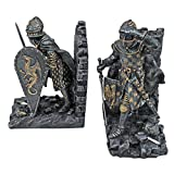 Design Toscano Arthurian Knight Medieval Decor Bookend Statues, 20.25 cm, Set of Two, Polyresin, Grey Stone