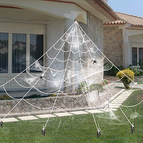 Y- stop 16 Feet Giant Spider Web with Super Stretch Cobweb Set and 2 Small Spider for Halloween Decorations Outdoor Yard