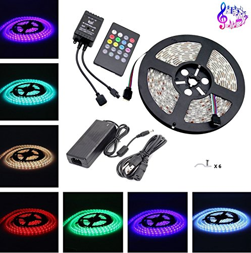 Music Led Strip Light,Topled Light® IR Music Sound Activated 5M 5050 RGB Waterproof 300LEDs RGB Flexible Color Changing LED Strip Kit with 20-key Music Sound Sense IR Controller + 12V (Led Sound Activated Lights)