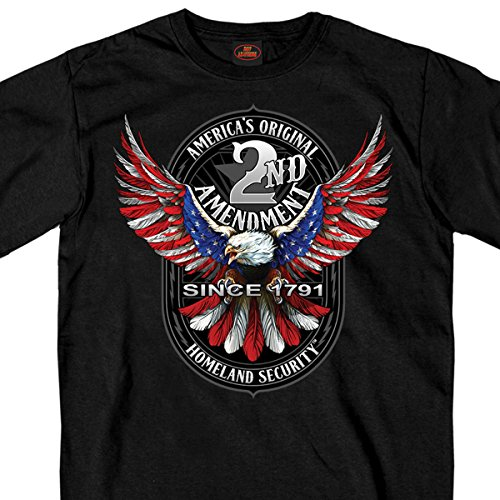Hot Leathers Patriot Eagle 100% Cotton Double Sided Printed Biker T-Shirt ()