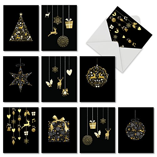 M6723XSB Gilded Holiday: 10 Assorted Blank Christmas Note Cards Featuring Elegant Gold and White Ornaments on Black Background, w/White Envelopes.