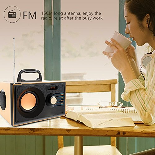 Desktop Wooden Bluetooth Speaker 10w Powerful Wireless Stereo Subwoofer Loudspeakers Music Player Support Digital Display Remote Control FM Radio TF Card USB AUX Speakers for Home Party for Phone by TOMPROAD (Image #2)