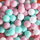 Thenese Pit Balls Crush Proof Plastic Children's Toy Balls Macaron Ocean Balls Small Size 2.15 Inch Phthalate & BPA Free Pack of 500 White&GreenΠnk