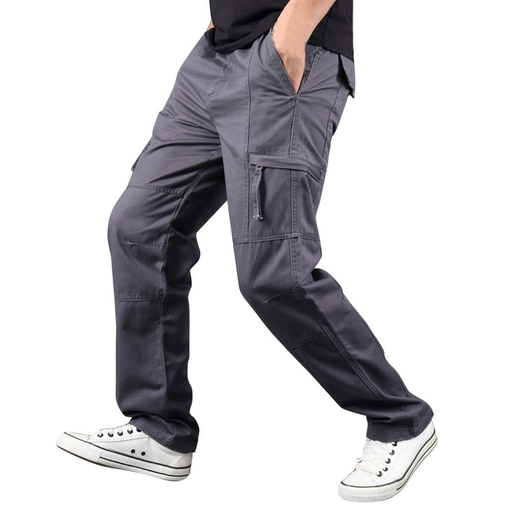 2019 New Men Pants,Summer Outdoor Cargo Casual Jogger with Pocket Wild Straight Sports Pants (Asian:S, Dark Gray) by Yihaojia Men Pants