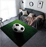 Vanfan Design Home Decorative soccer football on grass field Modern Non-Slip Doormats Carpet for Living Dining Room Bedroom Hallway Office Easy Clean Footcloth