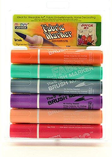 Marvy Uchida Fabric Brush Markers Set (Pastel) 1 pcs sku# 1831046MA by Marvy Uchida