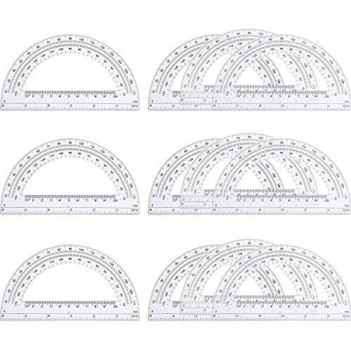 eBoot 12 Pack Plastic Protractors 180 Degrees, 6 Inches, - Protractor 180 Degree