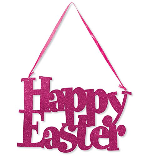 Die Ribbon - Creative Converting 141091 Happy Easter Die-Cut Glitter Sign with Ribbon Hanger, Pink