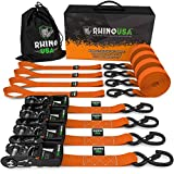 "RHINO USA Ratchet Straps Heavy Duty Tie Down Set, 5,208 Break Strength - (4) Heavy Duty 1.6"" x 8' Cargo Tiedowns with Padded Handles & Coated Chromoly S Hooks + (4) Soft Loop Tie Downs Strap (ORANGE)"