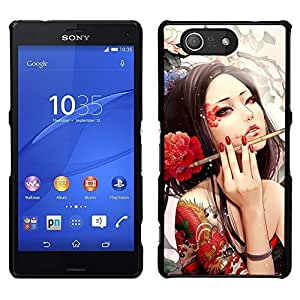 // PHONE CASE GIFT // Duro Estuche protector PC Cáscara Plástico Carcasa Funda Hard Protective Case for Sony Xperia Z3 Compact / Sexy Woman Tattoo Artist Red Flower Ink Brush /