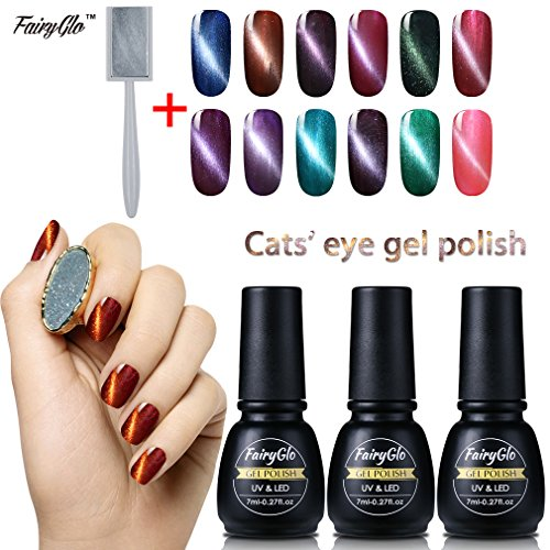 FairyGlo (Pick Any 5 Colours) Cat Eye Gel Nail Polish UV LED Soak Off Varnish Manicure Nail Art Beauty Starter Kit Magnet Board Sticker Collection DIY - To Right Sunglasses The Pick How