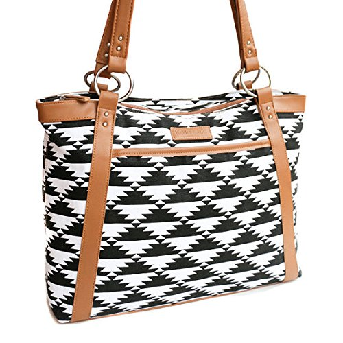 kailo-chic-casual-154-laptop-tote-black-and-white-tribal-aztec-print