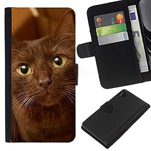 KLONGSHOP // Tirón de la caja Cartera de cuero con ranuras para tarjetas - La Habana Brown Ojos verdes del gato - Sony Xperia Z2 D6502 //