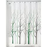 iDesign Forest Fabric Shower Curtain for Master, Guest, Kids', College Dorm Bathroom, 72' x 72' - Sage Green and Taupe
