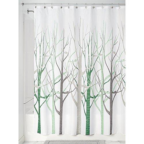 InterDesign Forest Fabric Shower Curtain, 72 x 72, Sage/Taupe