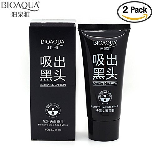 BIOAQUA 2 Packs Blackhead Remover Black Spots Mask Nose Pilaten Acne Purifying Peel Off Charcoal Deeply Cleanses Pores Skin (2 x 2.11OZ packs)