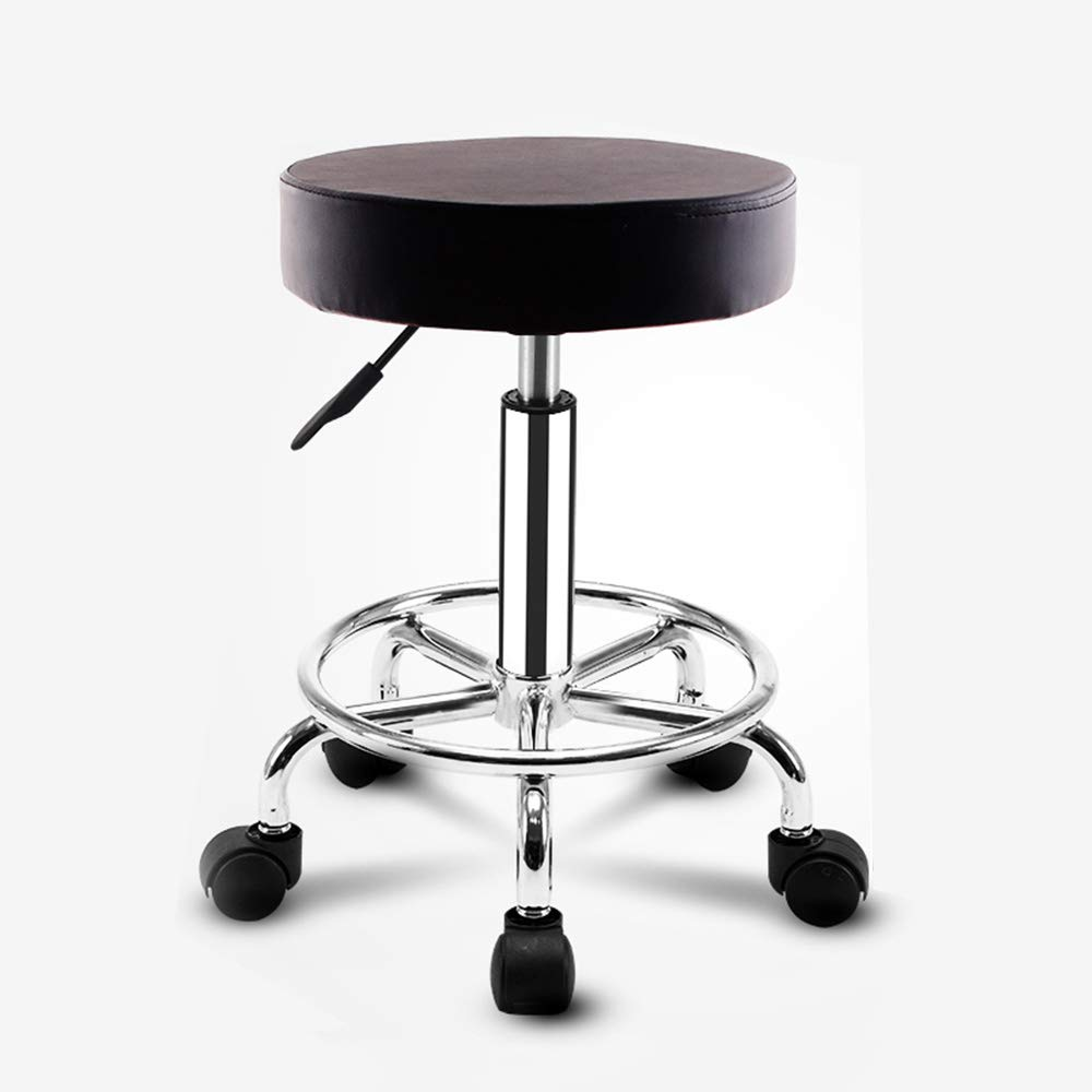 Phenomenal Amazon Com Adjustable Swivel Bar Round Rolling Stool Creativecarmelina Interior Chair Design Creativecarmelinacom