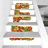 Stair Stickers Wall Stickers,6 PCS Self-adhesive,Letter E,Chestnut Maple Leaves Natural Oak Petals Vibrant Colors E Symbol Print,Vermilion Yellow Green,Stair Riser Decal for Living Room, Hall, Kids Ro