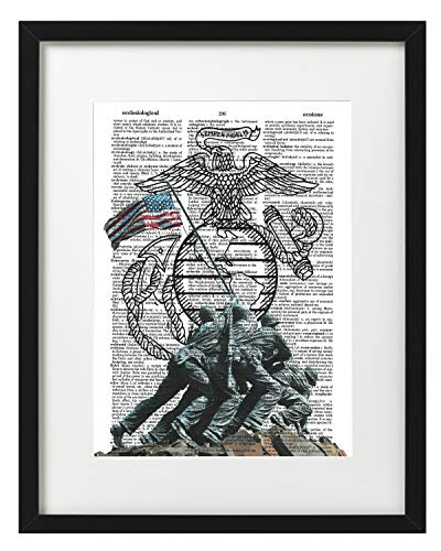 Signature Studios Marines Raising The Flag on Iwo Jima WWII Poster Dictionary Art Print - Iwo Flag Marines Jima