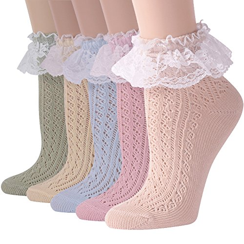 Short Dress Socks Women, Funcat Girls Ladies Vintage Ruffle Cuff Ankle Boots Socks with Lace Trim 5 Pairs ()