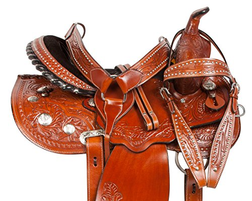 "SIZE 14"" 15"" 16"" HAND CARVED PREMIUM WESTERN BARREL RACING SILVER SHOW PLEASURE TRAIL ARABIAN BAR HORSE SADDLE TACK BRIDLE REINS BREAST COLLAR LEATHER (Arabian Show Saddles)"