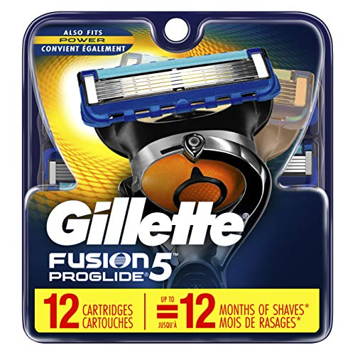 Gillette Fusion ProGlide Manual Men's Razor Blade Refills, 12 Count, Mens Razors/Blades