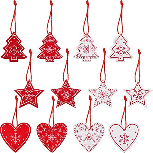 Gejoy 48 Pieces Wooden Hanging Tags Pendant 12 Patterns Christmas Decoration Tree Hanging Wood Slice Craft Tree Heart Star, Red and -