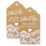 Summer-Ray 50pcs White Printing Royale Thank You for Sharing Our Special Day Wedding Favor Brown Kraft Gift Tags