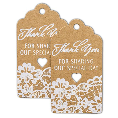 Summer-Ray 50pcs White Lace Royale Thank You for Sharing Our Special Day Wedding Favor Brown Kraft Gift Tags