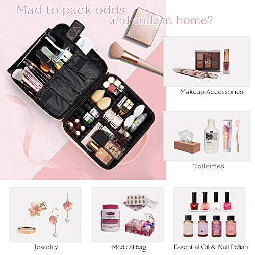 Stagiant Makeup Bag Portable Travel Makeup Train Case PU Leather Cosmetic Storage Organizer with Dividers for Girl Cosmetic Make Up Tools Toiletry Jewelry Digital Accessories - Pink