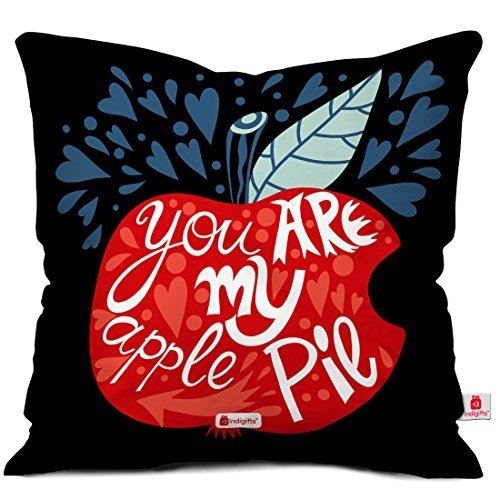 indibni Valentine Gifts You are My Apple Pie Quote Leaves and Heart Pattern in Background Black 18