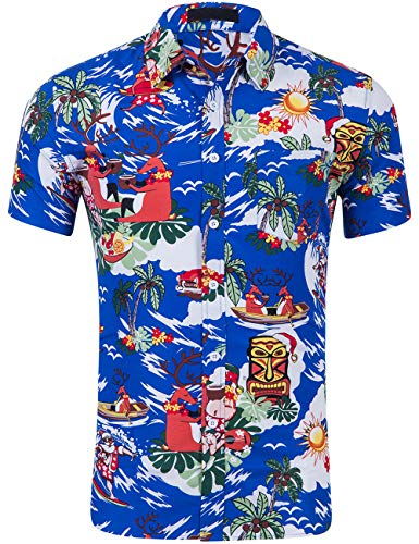 DOKKIA Men's Dress Tropical Short Sleeve Beach Party Luau Aloha Hawaiian Shirt (Christmas Santa Clause Reindeer Blue, Small)