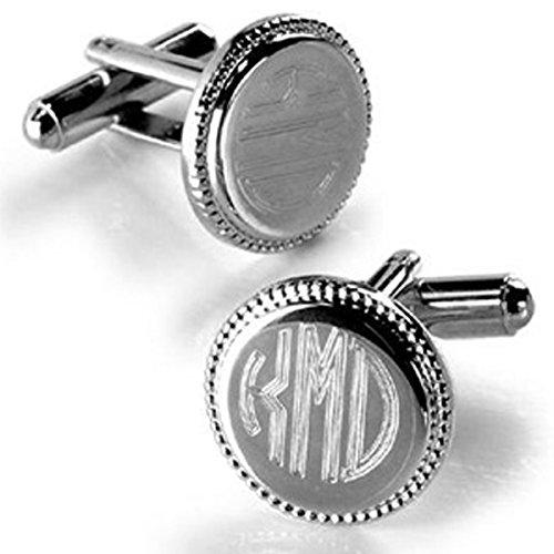 Monogrammed Silver Round Beaded Cufflinks - Personalized Cufflinks - Engraved Cufflinks