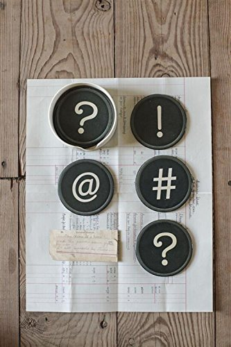 Round Plastic Coasters W/ Typewriter Symbols Punctuations & Holder Set Of 7 Country Home Office Desk Décor
