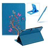 Case for New iPad 9.7 2017,Smart Leather Cover for New iPad 9.7 2017,Herzzer Stylish Blue Butterfly Flower Design Wallet Folio Case Full Body PU Leather Protective Stand Cover with Inner Soft Silicone Shell